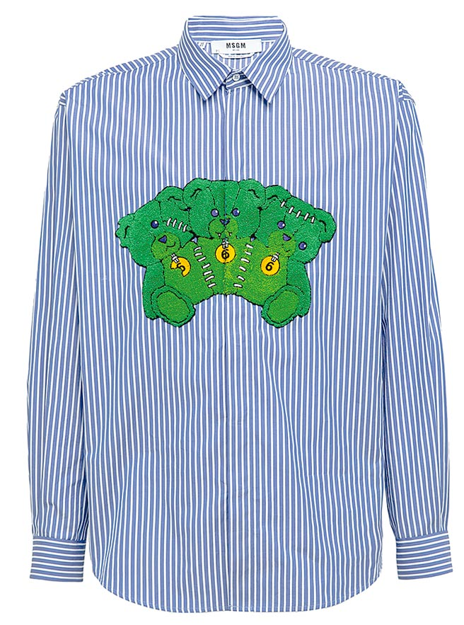 MSGM生化殭屍熊襯衫1萬4800元。(藍鐘提供)