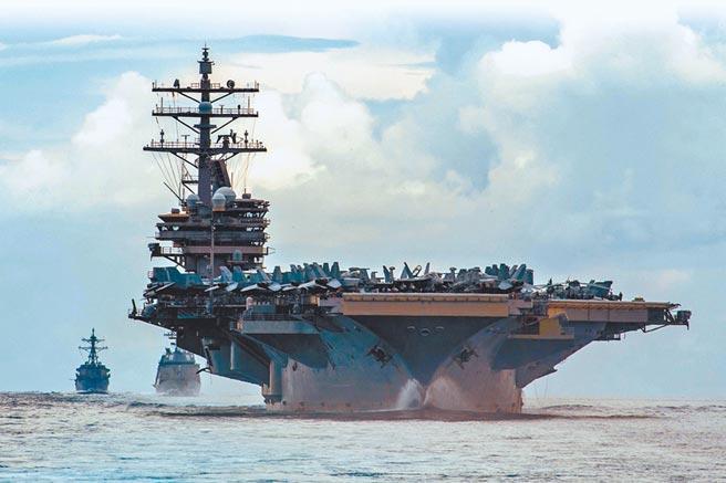 美國雷根號航母10月16日經中沙群島,往台灣方向前行。(取自美國太平洋艦隊推特)