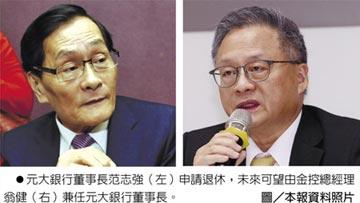 元大銀董座范志強 申請退休 金控總經理翁健接掌呼聲高