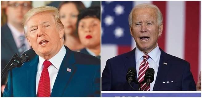 美學者:拜登辯論一句話 川普愣呆 驚醒美國人。川普(左)、拜登(右)。(合成圖/新華社、美聯社)