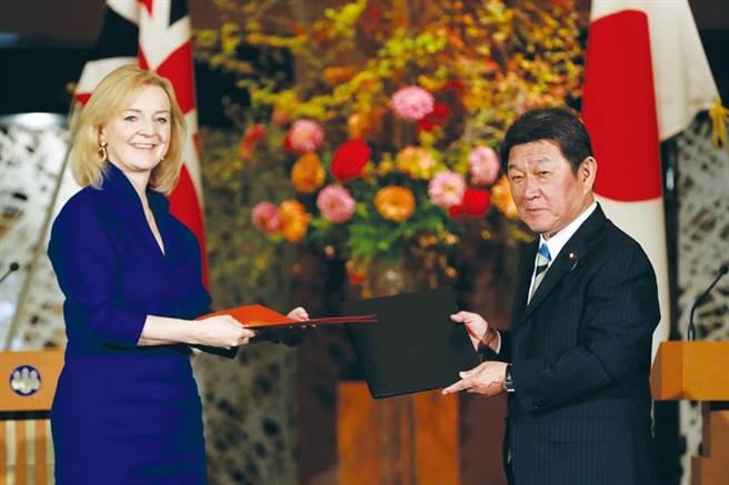 英國國際貿易大臣特拉斯(左)與日本外務大臣茂木敏充(右)簽下雙邊自由貿易協定(圖/路透)