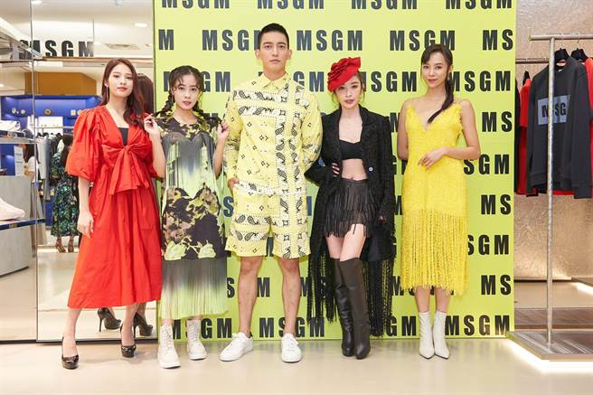 李家儀(左起)、高妍妍、王家梁、許維恩、康茵茵日前一同出席時尚活動。(MSGM/維恩原創提供)