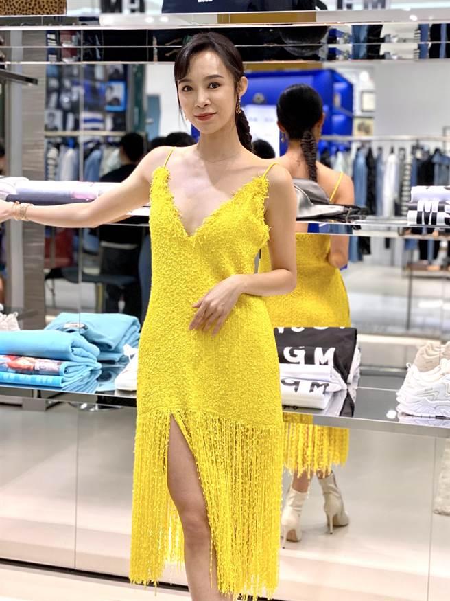 康茵茵穿一身黃相當吸睛。(MSGM/維恩原創提供)