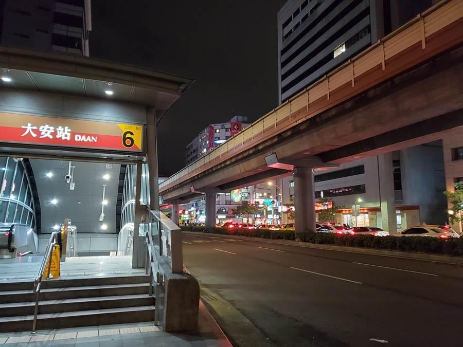北市捷運大安站附近,昨晚傳出槍擊案,警方已逮捕嫌犯到案。(林郁平攝)