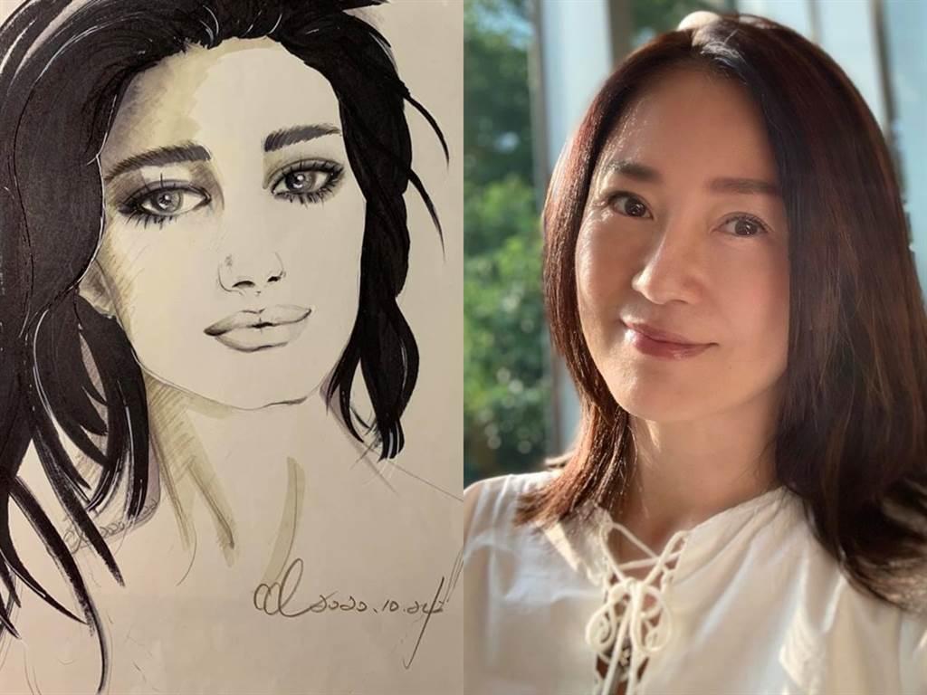 李之勤54歲現況曝光,外型保養得宜,沒留下太多歲月痕跡。左圖為她的手繪圖。(圖/FB@李之勤)