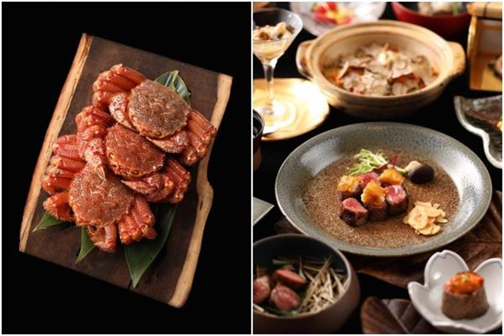 (左圖)秋冬菜單使用北海道野生毛蟹。(右圖)冬夕燒套餐11道料理4500元起。(樂軒和牛割烹提供)