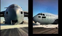 影》C-17運輸機鼻輪故障 火花與沙塵中迫降成功
