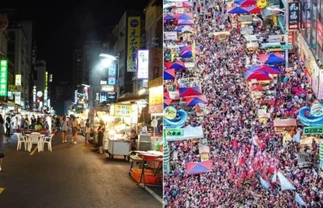 六合夜市現冷冷清清(左),去年高雄觀光日人潮爆滿。(合成圖/游定剛攝、摘自韓黑父母不崩潰臉書)