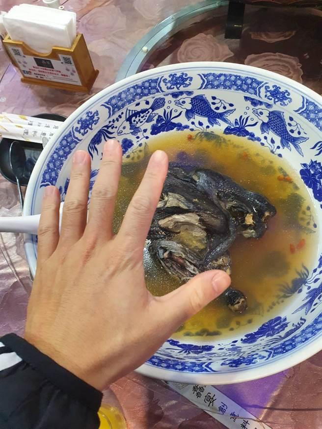 裝有雞湯的陶瓷碗比一般成人手掌大上好幾倍 。(照片/網友提供)