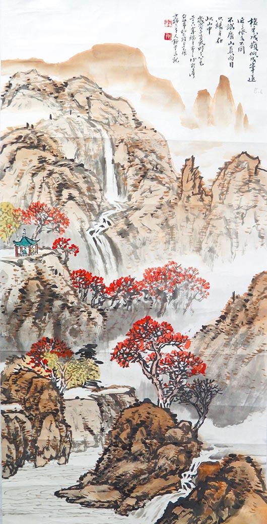 舒曾子,《橫看成嶺》,水墨,70X139cm。圖/吳燈載