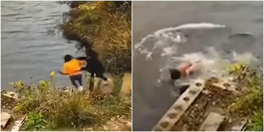 黃衣女子蹲下綁鞋帶,卻遭閨密推下水,雙雙溺斃。(圖/翻攝自 中国新闻China News YouTube)