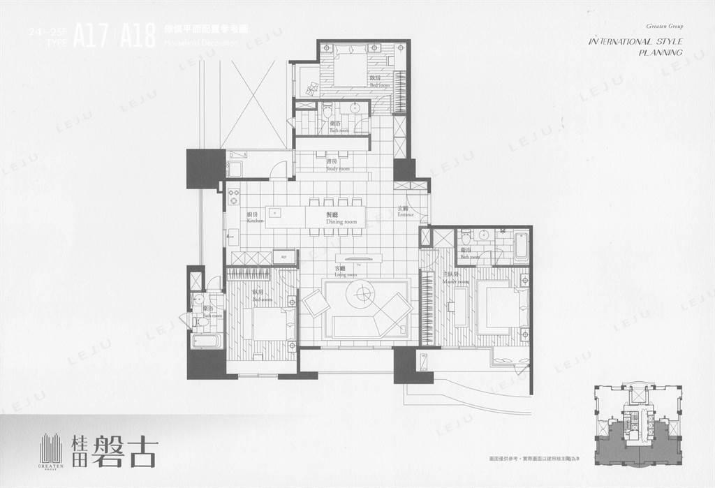 24-26F標準層+家配圖