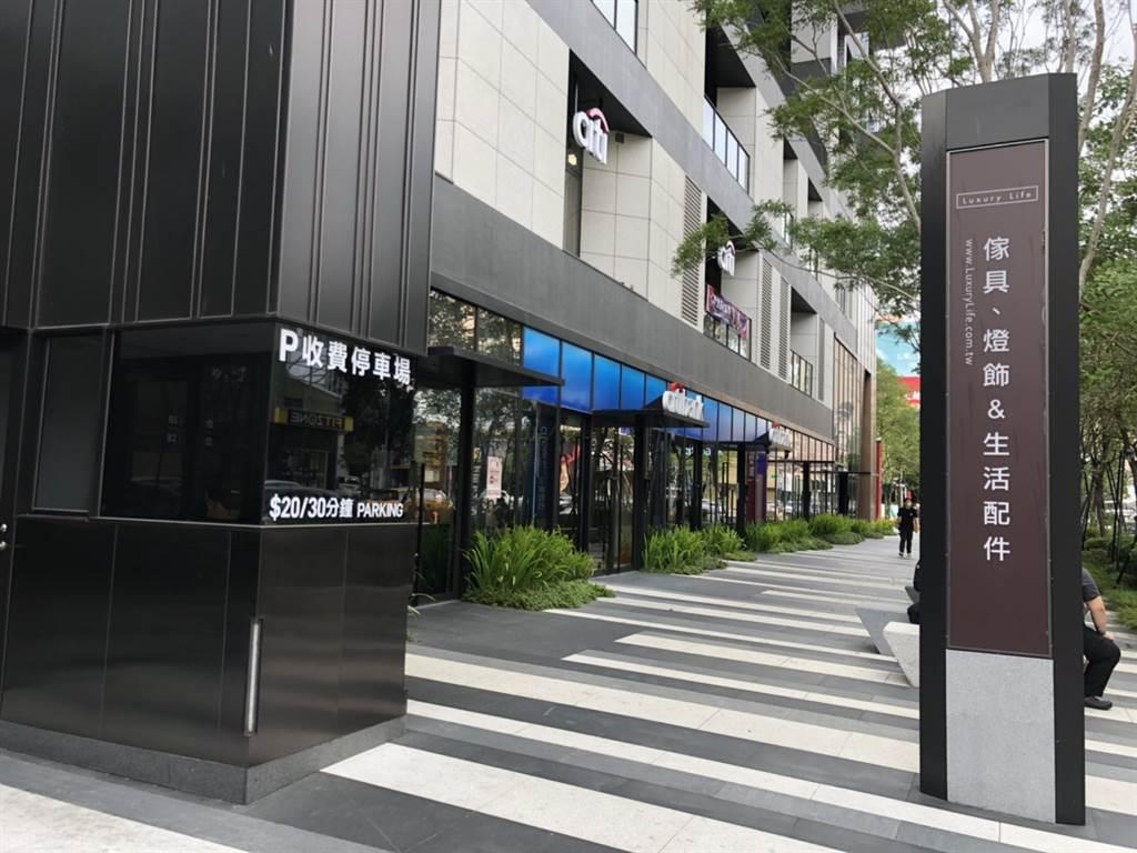 台中五期豪宅「磐鈺雲華」1、2樓店面由花旗銀行進駐開設大益分行,成為豪宅金庫。(台灣房屋五期大墩特許加盟店提供)