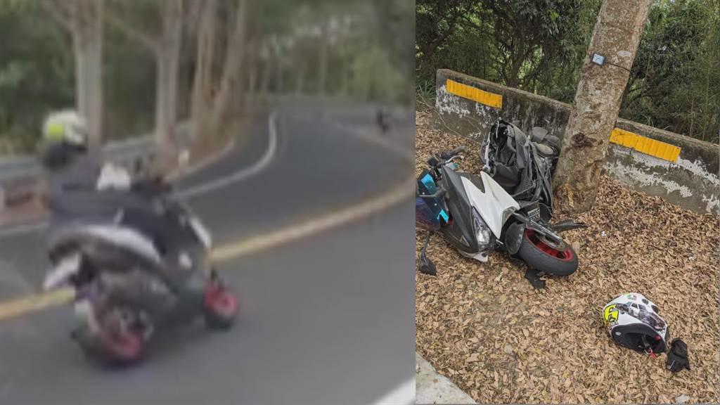 139线无照重机自撞机车断两截,18岁骑士压车过弯人飞出。(彰化县警局提供/吴敏菁彰化传真)