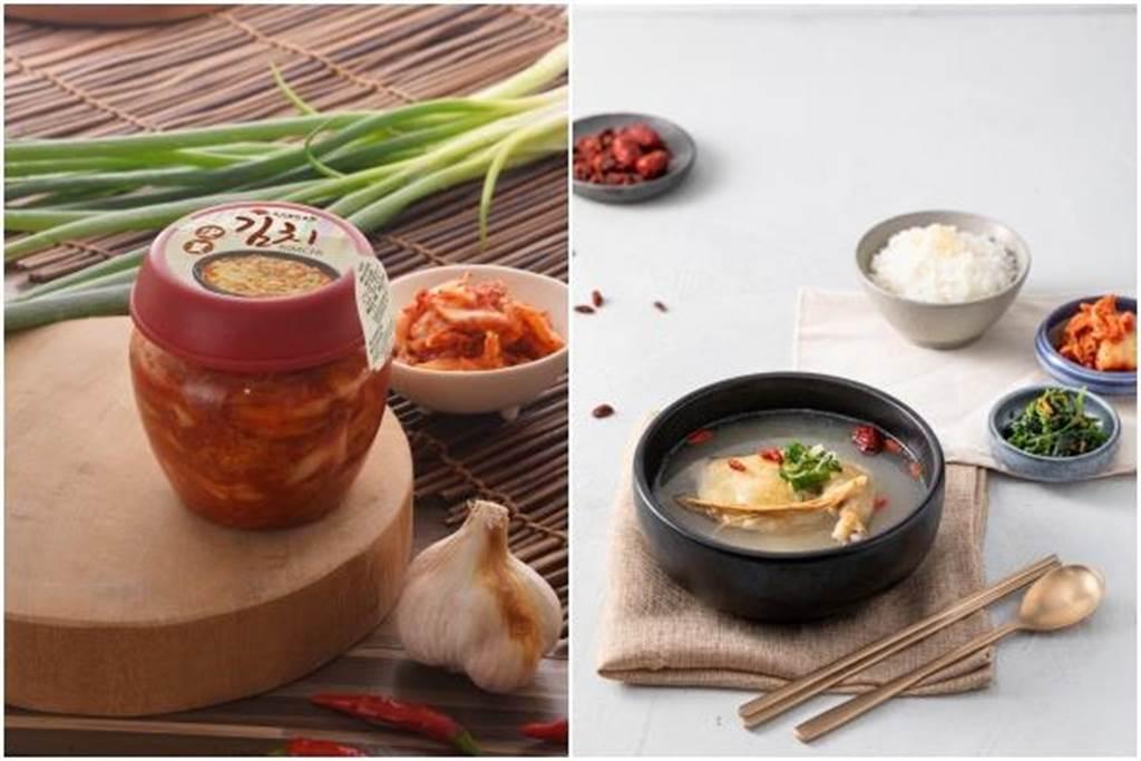 (左至右)罐裝「特級韓式泡菜」,每罐168元。「韓姜熙的小廚房」元氣人蔘雞定食。(豆府餐飲集團提供)