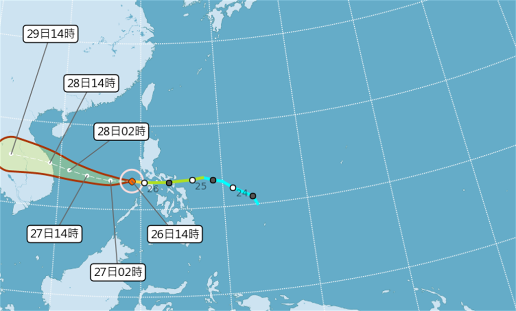 第18號颱風「莫拉菲」於今天上午8時增強為中度颱風,下午已進入南海,將向西朝越南方向進行,因距離較遠,對台灣天氣影響不大。(氣象局)