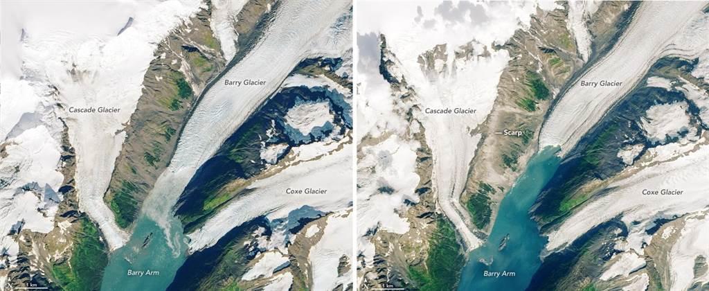 阿拉斯加冰川融化,要是土石松动,大量土石与冰川都衝入大海,就能引发特大海啸。(图/NOAA)