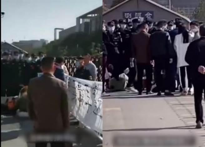 大陸一名大一新生在跑完400公尺快跑後死亡,家長舉布條至校門口抗議學校處事態度。(圖/翻攝自抖音)