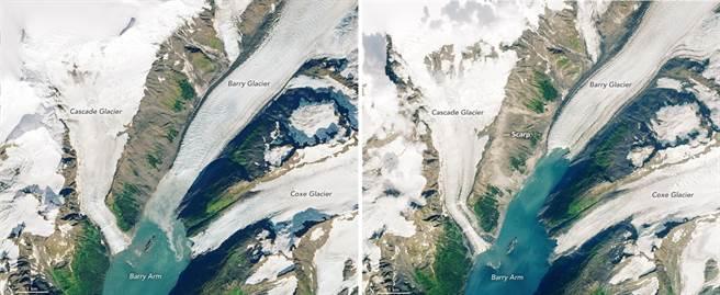 阿拉斯加冰川融化,要是土石鬆動,大量土石與冰川都衝入大海,就能引發特大海嘯。(圖/NOAA)