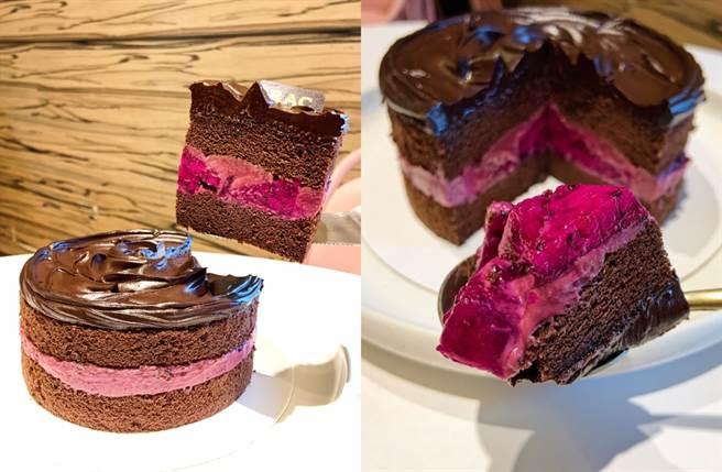 秋季限定的「野莓維納斯」莓果巧克力蛋糕。(圖/楊婕安攝)