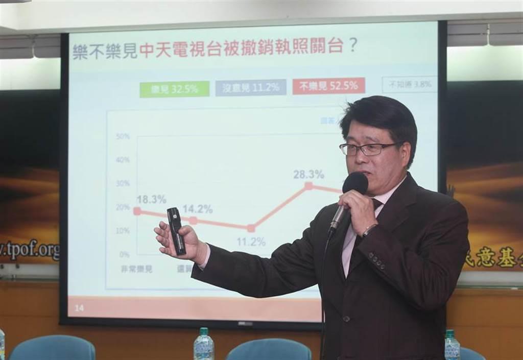 財團法人台灣民意基金會27日針對「中天新聞台換照」等議題進行民意調,董事長游盈隆表示結果發現,有五成三的民眾不樂見中天新聞台撤照。(陳信翰攝)