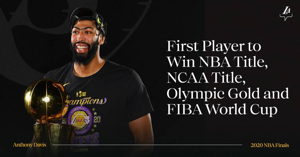 湖人在官方推特上慶賀安東尼戴維斯勇奪NCAA、NBA、世界盃與奧運會4個冠軍,成為籃球大滿貫史上第一人。(摘自湖人推特)