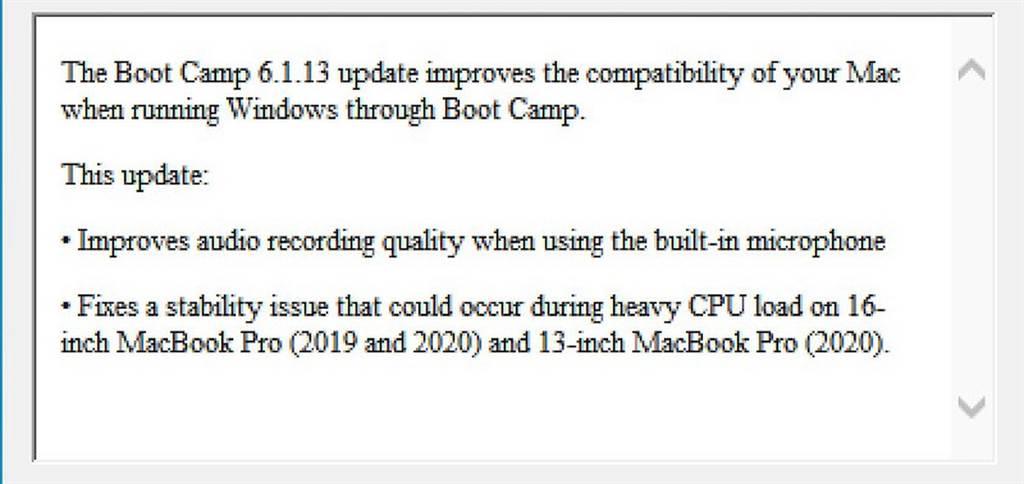 蘋果最新釋出的Boot Camp 軟體更新中,意外提及了2020年新款16吋MacBook Pro。(摘自MacRumors)