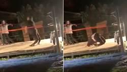 真的痛 摔角手翻身跳擂台不慎折斷腿