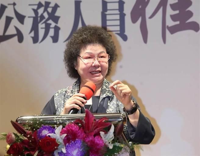 監察院長陳菊27日出席「合作促進公務人員人權教育」發表會,上台致詞期勉在監察院提供教育訓練的實際案例,讓公務人員受訓後更注重人民的人權。(鄭任南攝)
