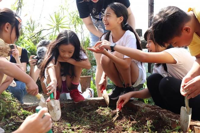 """「食農教育」的體驗活動中,可見小學童們翻土發現""""小生物""""的雀躍。(銘傳大學提供)"""
