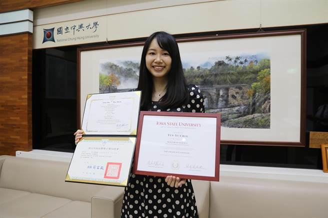 中興大學獸醫學系周言昱赴美修習2年,成為台灣首位取得台美名校獸醫臨床碩士雙聯學位的學生。(興大提供/林欣儀台中傳真)