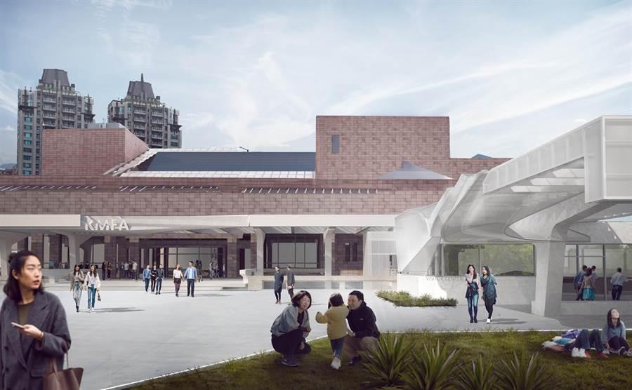高美館入口處將打造全新的意象頂篷,協助民眾輕鬆識別場域。(高美館提供/袁庭堯高雄傳真)