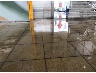 瑞芳圖書館開幕3天嚴重漏水 盆栽接水、天花板龜裂