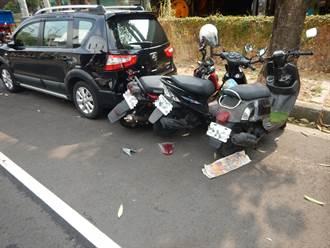 女自撞 路旁3機車一汽車無辜受害