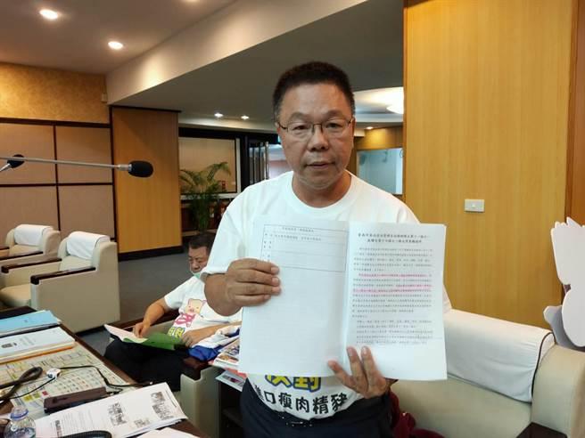 國民黨台南市議員蔡育輝本會期提出的《台南市食品安全管理條例》修正案獲大會一讀通過。(洪榮志攝)