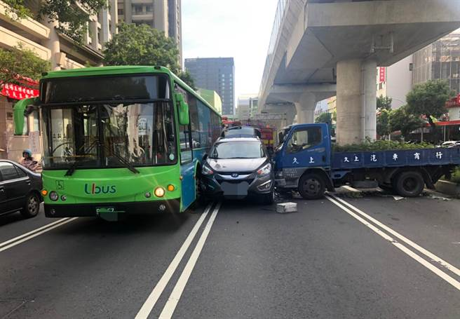 台中市文心南路,28日下午發生公車、貨車等5車連環撞,一輛汽車被貨車及公車夾擊,但貨車駕駛卡在車內,意識不清。(第四分局提供/黃國峰台中傳真)