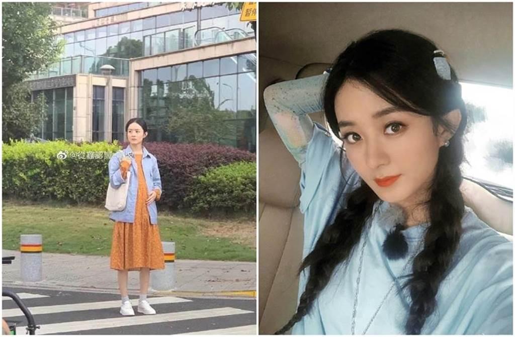 趙麗穎被曬挺孕肚上街照(左圖),不過這其實是她拍電視劇《幸福到萬家》中的孕婦造型。(圖/取材自趙麗穎、從鑫認識-寧波微博)
