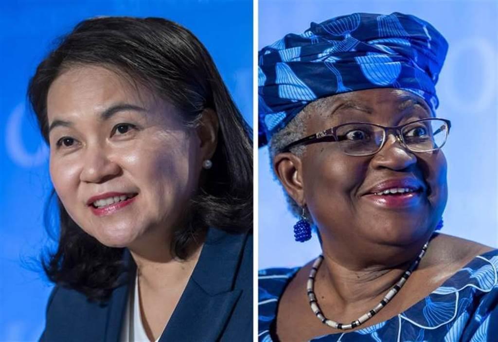 世貿組織(WTO)下任秘書長遴選,南韓產業通商資源部通商交涉本部長俞明希(左)打入最後一輪,與奈及利亞籍前世銀常務副總裁奧孔喬-伊韋阿拉(右)進行對決。(美聯社)