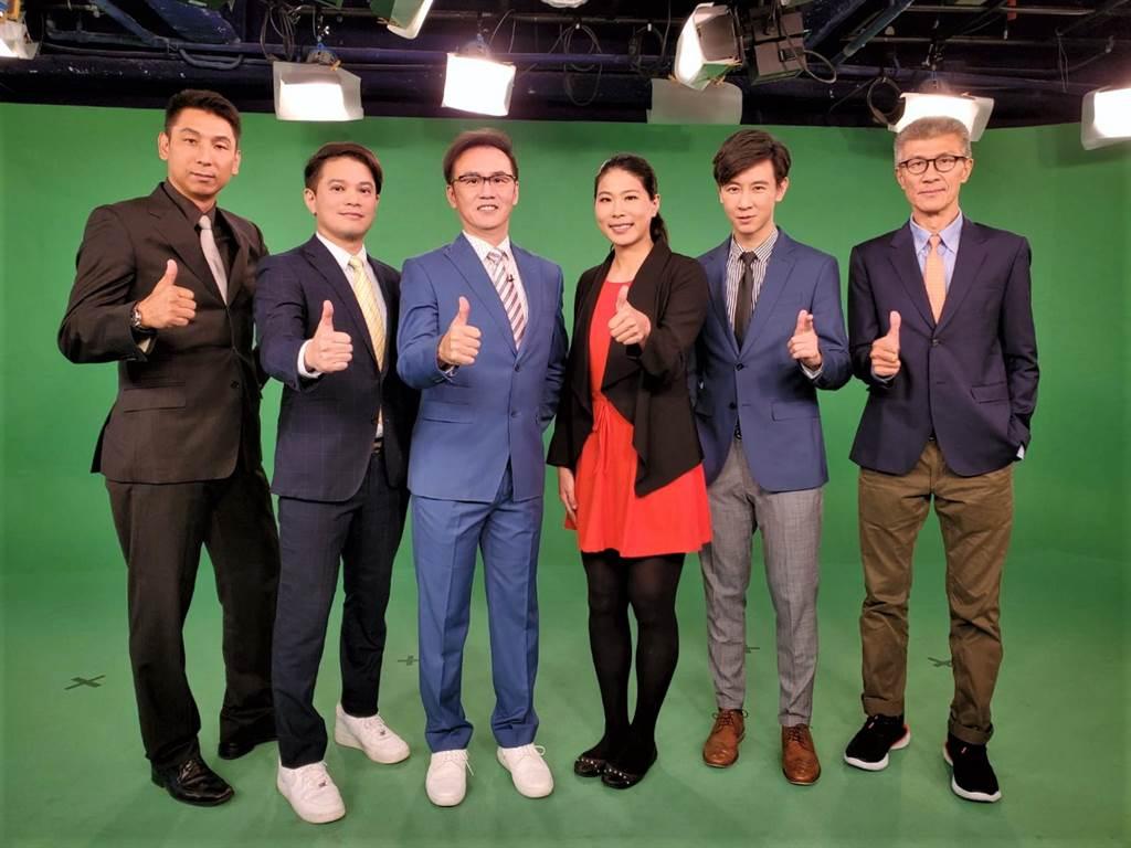 東森超視專業主播、球評首度亮相(左起)賈凡、楊正磊、丁元凱、馬怡鴻、王博麟、李亦伸。(東森超視提供)