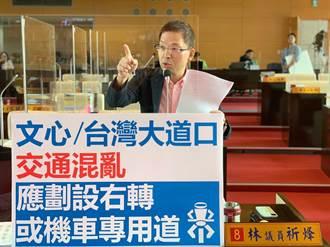 文心、台灣大道路口交通亂象橫生 林祈烽建議設右轉和機車優先道