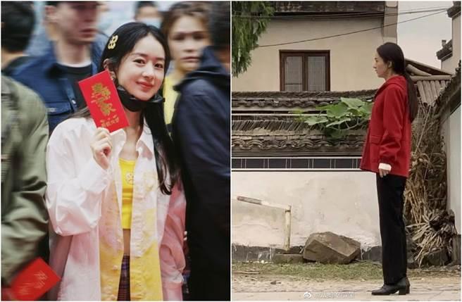 趙麗穎為新戲《幸福到萬家》飾演農婦的角色。(圖/取材自趙麗穎工作室、新浪娛樂微博)