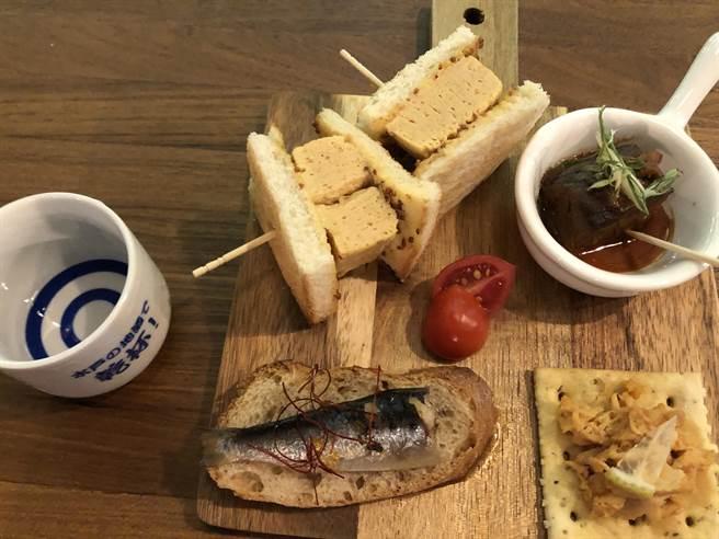 mr. kanso餐厅的下酒小菜餐点优惠组合,增添口感层次。(黄采薇摄)