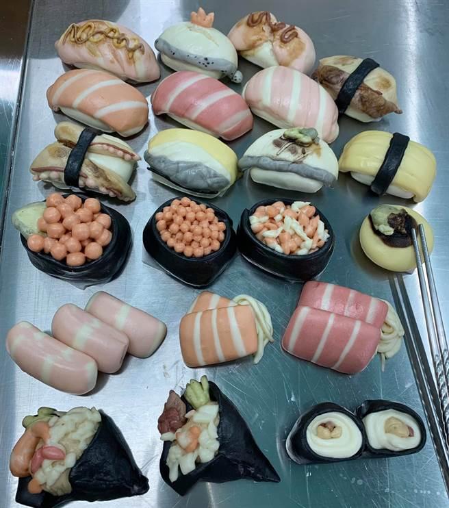 一名網友分享,兒子指定要壽司造型的饅頭,媽媽使命必達,成品照出爐,吸引上萬網有狂讚,真的厲害了。(圖/網友授權提供)