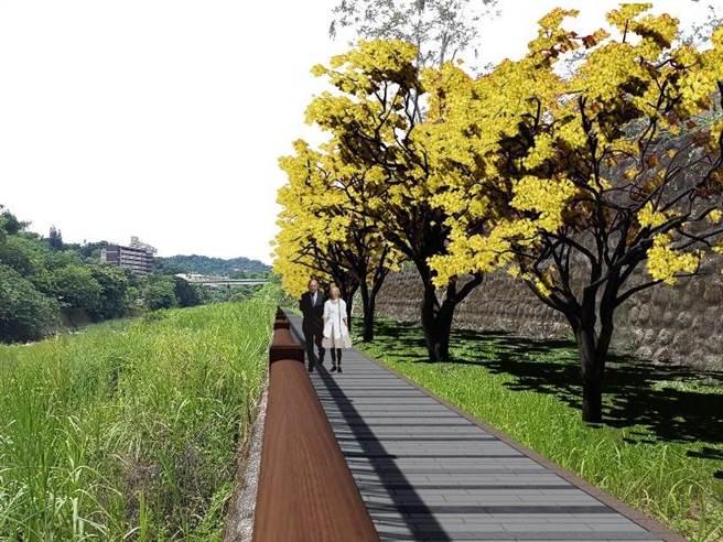 三貴城大橋至光正橋兩岸水域環境改善後模擬圖。(台中市水利局提供/王文吉台中傳真)