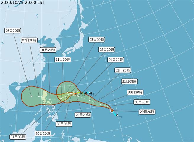 第20號颱風「閃電」(國際命名: ATSANI)預測朝西北轉西北西移動,往菲律賓前進。(氣象局)