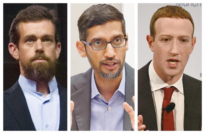 臉書執行長祖克伯(右)表態支持修法,但推特執行長多爾西(左)與谷歌執行長皮查(中)則以修法對企業與消費者影響重大為由呼籲國會三思。圖/美聯社