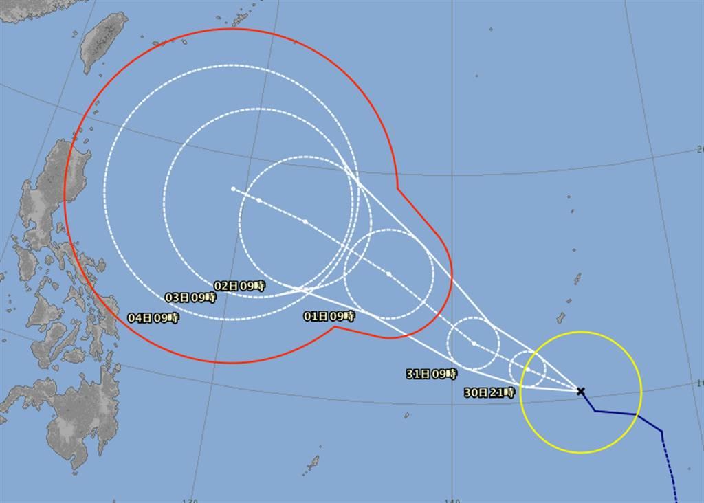 閃電颱風有機會北偏,不排除接近台灣。(翻攝日本氣象廳)