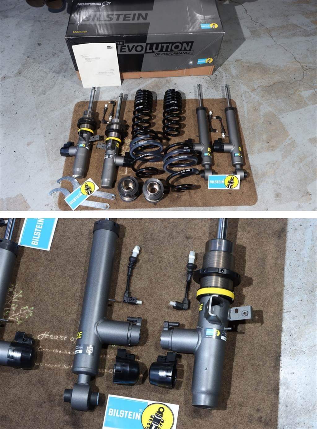 最新發表的BILSTEIN EVO SE避震器,是專為搭載電子阻尼懸吊系統的車款所開發,因此可以看到減震筒身下方有個凸起的圓筒,裡面設有調整阻尼用的電子閥門,而整體通過德國TUV認證的品質,值得信賴。