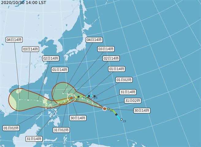 強烈颱風天鵝的路徑潛勢預報圖。(中央氣象局)