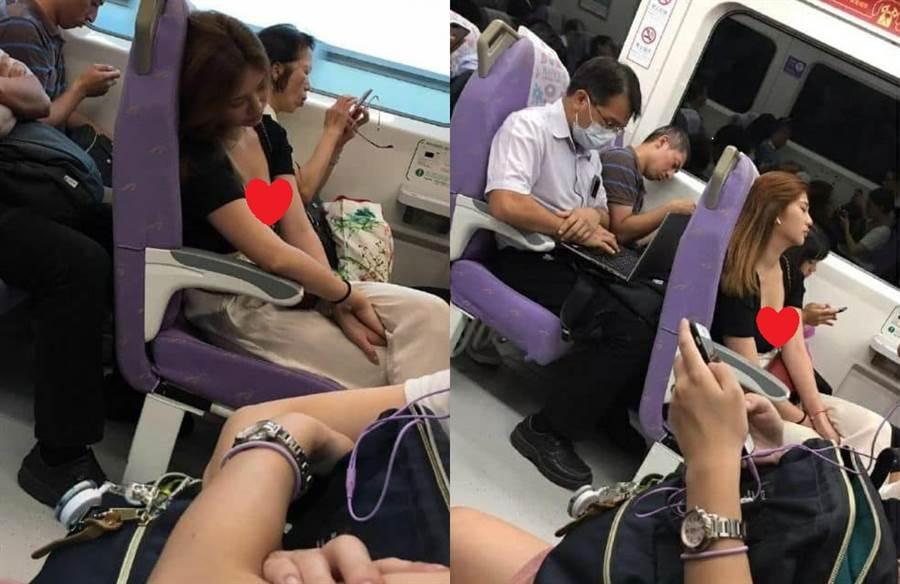 正妹機捷上睡著 半顆雪乳意外掉出來 乘客驚呼「女神」(圖片取自臉書)